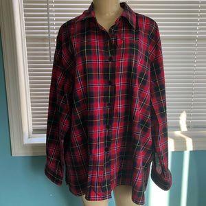 Foxcroft Red Plaid Wrinkle Free Shirt
